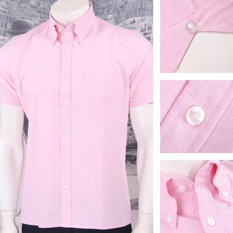 Art Gallery 60's Retro Mod Button Down Collar Plain Oxford Cotton S/S Shirt Thumbnail 4