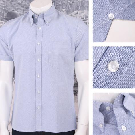 Art Gallery 60's Retro Mod Button Down Collar Plain Oxford Cotton S/S Shirt Thumbnail 3