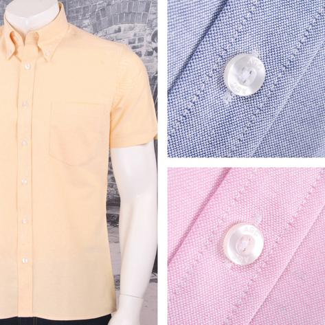 Art Gallery 60's Retro Mod Button Down Collar Plain Oxford Cotton S/S Shirt Thumbnail 1