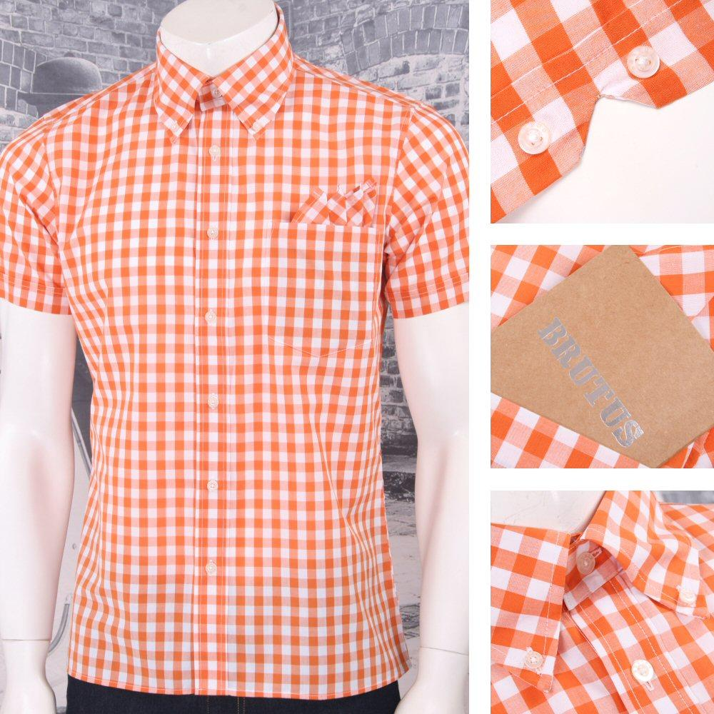 Brutus Trimfit Mod Skin Retro Classic Gingham Check S/S Shirt Orange