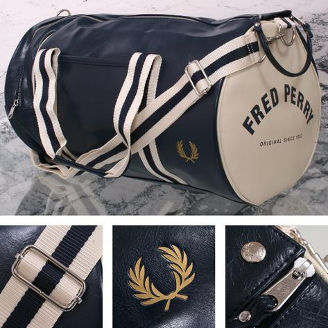 Fred Perry Mod Retro 60's Laurel Wreath Classic Barrel Bag Navy/White Thumbnail 1