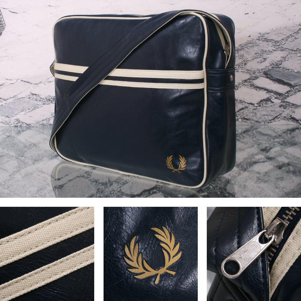 Fred Perry Mod Retro 60's Laurel Wreath Messenger Satchel Bag Navy