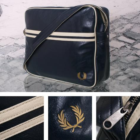 Fred Perry Mod Retro 60's Laurel Wreath Messenger Satchel Bag Navy Thumbnail 1