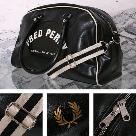 Fred Perry Mod Retro 60's Laurel Wreath Classic Overnight Bag Black Thumbnail 1