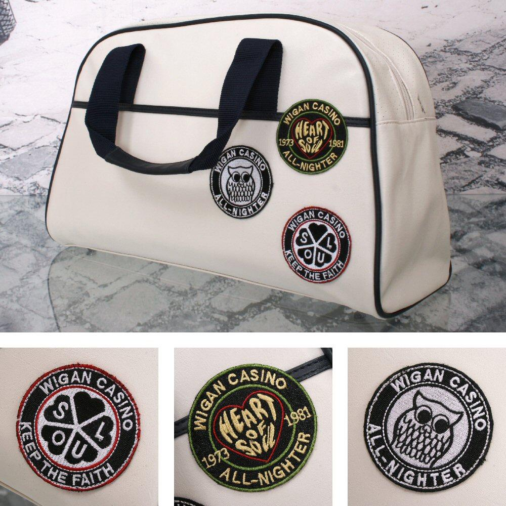 Wigan Casino Northern Soul 70's Weekender Bowling Holdall Bag Ecru