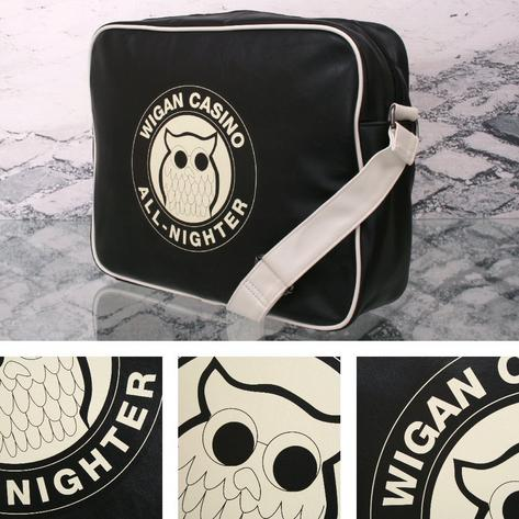 Wigan Casino Northern Soul 70's Satchel Messenger Record Bag Black Thumbnail 1