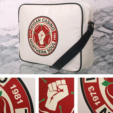 Wigan Casino Northern Soul 70's Satchel Messenger Record Bag Ecru Thumbnail 1
