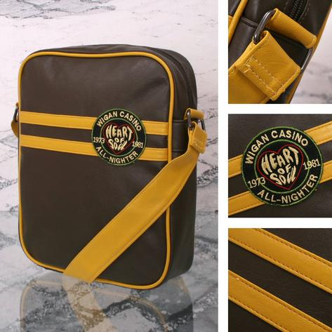 Wigan Casino Northern Soul 70's Striped Shoulder Record Bag Brown Thumbnail 1