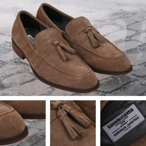 Lambretta x Delicious Junction Berwick Tasseled Loafers Suede Sand Thumbnail 1