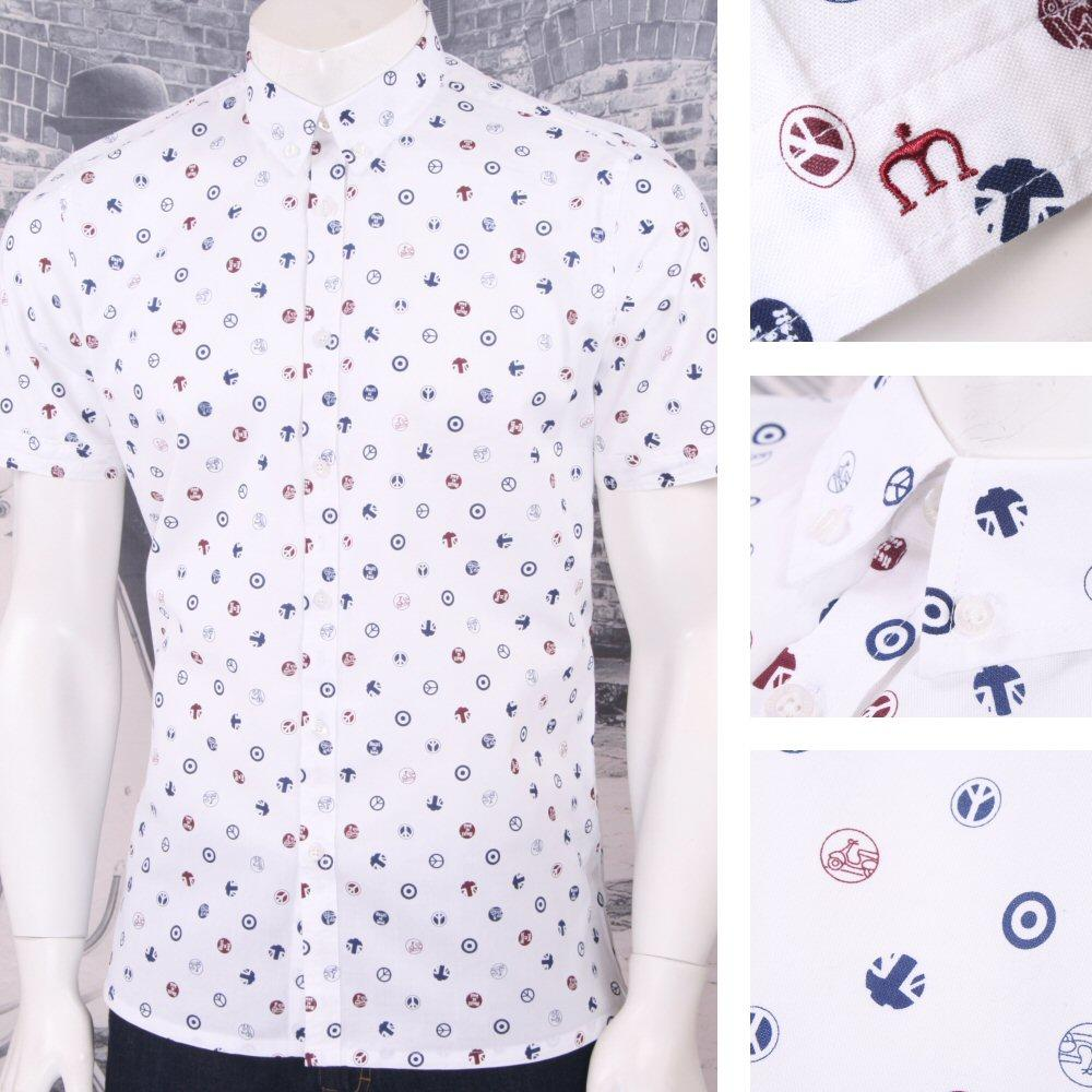 Merc London Mod 60's Retro Target Scooter Union Flag Print L/S Shirt White