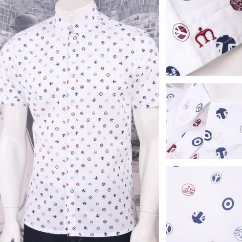 Merc London Mod 60's Retro Target Scooter Union Flag Print L/S Shirt White Thumbnail 1