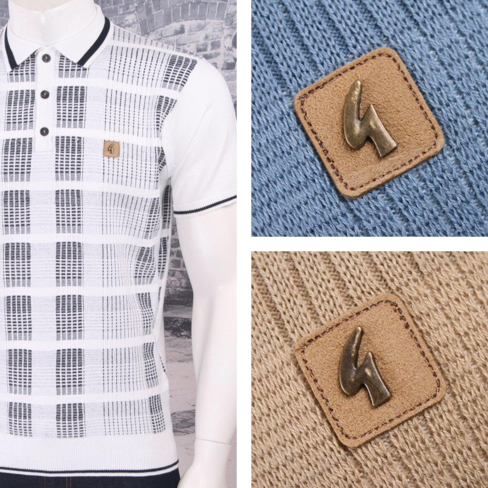 Gabicci Vintage Mod Retro 60s 3 Button Mixed Texture Knit S Polo Shirt