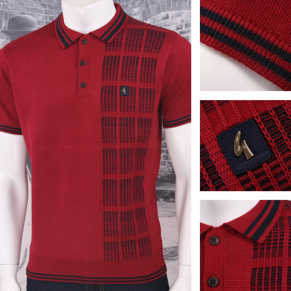 118ff584b Sentinel Gabicci Vintage Mod Retro 60's 3 Button Mix Texture Stripe Knit  Polo Shirt