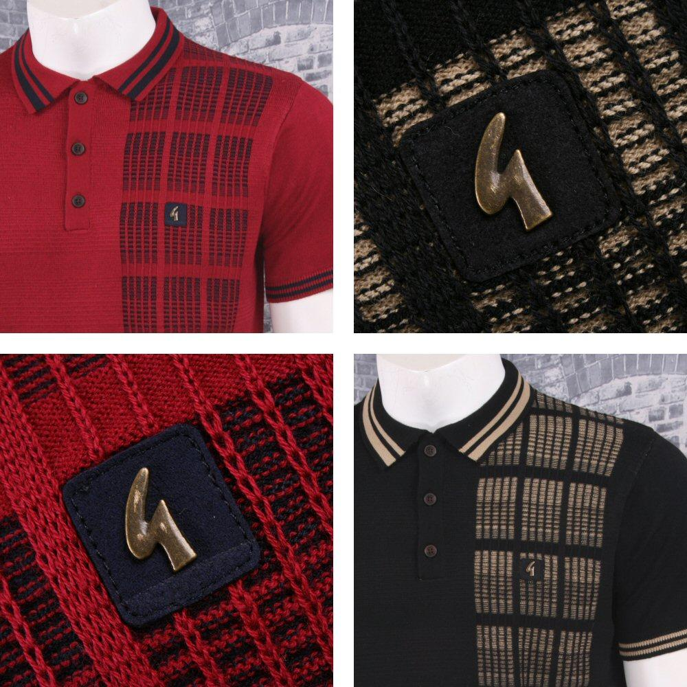 Gabicci Vintage Mod Retro 60's 3 Button Mix Texture Stripe Knit Polo Shirt