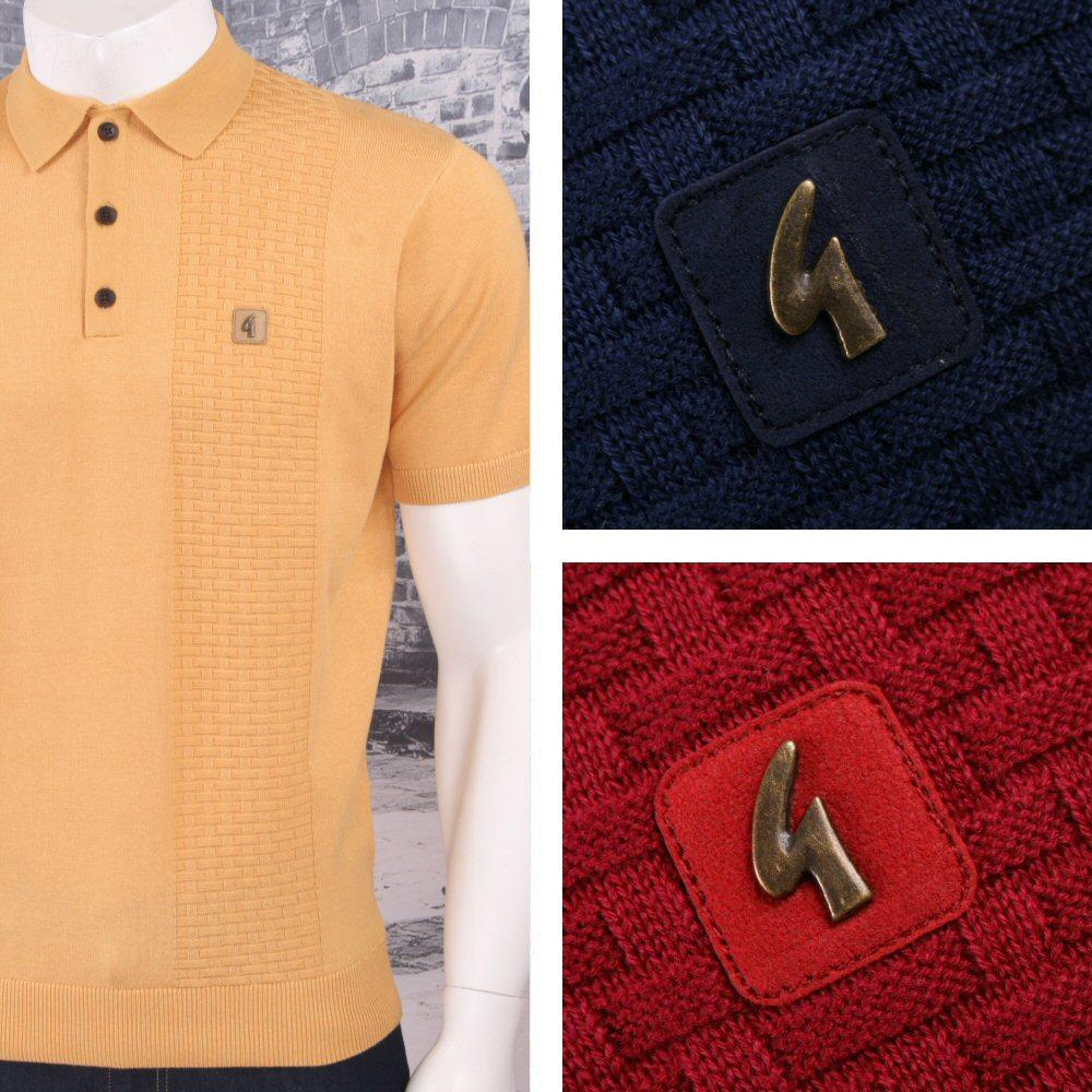 Gabicci Vintage Mod Retro 60's 3 Button Basketweave Knit S/S Polo Shirt