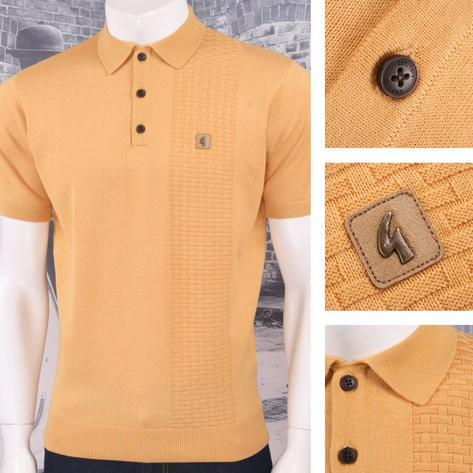 Gabicci Vintage Mod Retro 60's 3 Button Basketweave Knit S/S Polo Shirt Thumbnail 2