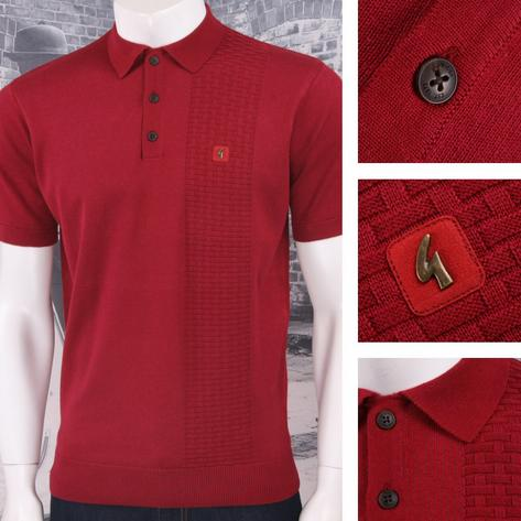 Gabicci Vintage Mod Retro 60's 3 Button Basketweave Knit S/S Polo Shirt Thumbnail 4