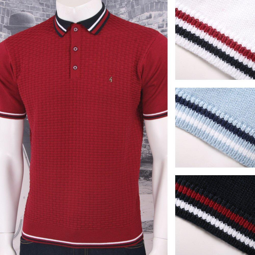 Gabicci Vintage Mod Retro 60's 3 Button Basketweave Knit Tipped Polo Shirt