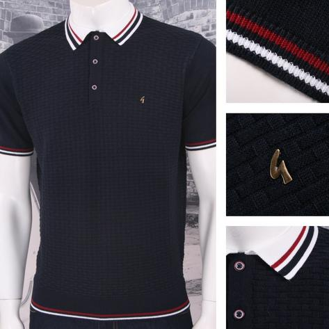 Gabicci Vintage Mod Retro 60's 3 Button Basketweave Knit Tipped Polo Shirt Thumbnail 5