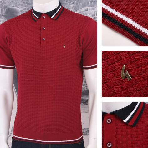 Gabicci Vintage Mod Retro 60's 3 Button Basketweave Knit Tipped Polo Shirt Thumbnail 2