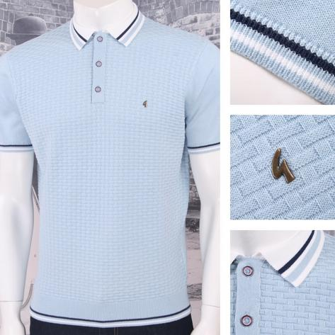 Gabicci Vintage Mod Retro 60's 3 Button Basketweave Knit Tipped Polo Shirt Thumbnail 4