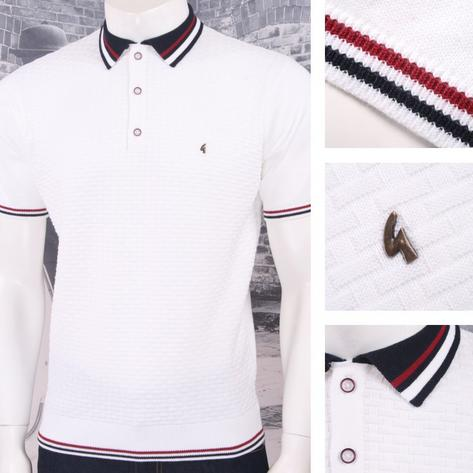 Gabicci Vintage Mod Retro 60's 3 Button Basketweave Knit Tipped Polo Shirt Thumbnail 3