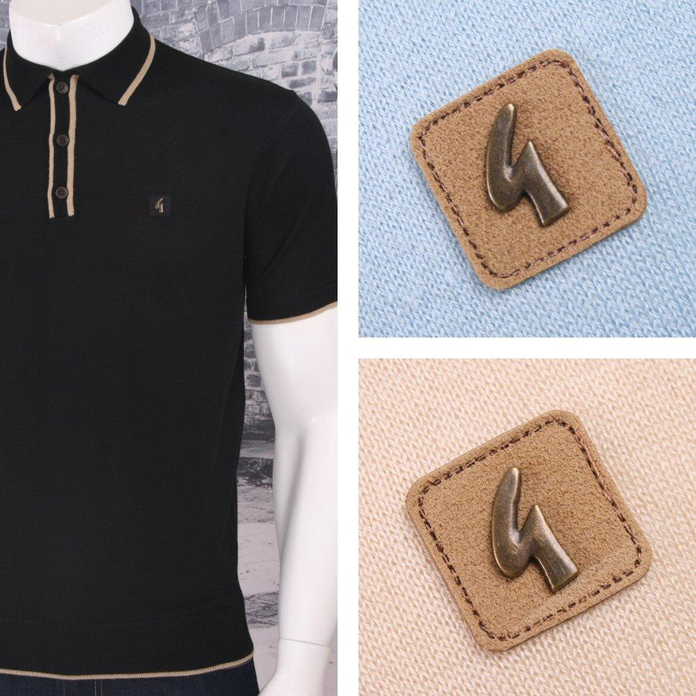 Gabicci Vintage Mod Retro 60's Tipped Placket & Collar S/S Knit Polo Shirt