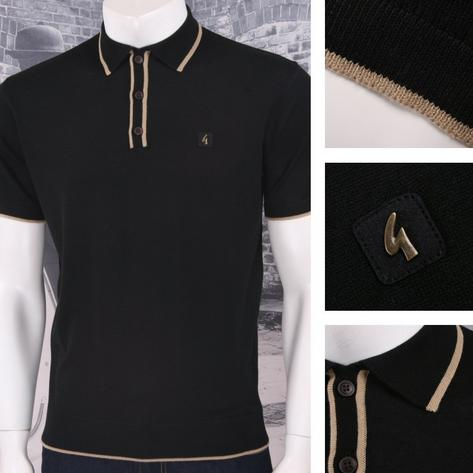 Gabicci Vintage Mod Retro 60's Tipped Placket & Collar S/S Knit Polo Shirt Thumbnail 2