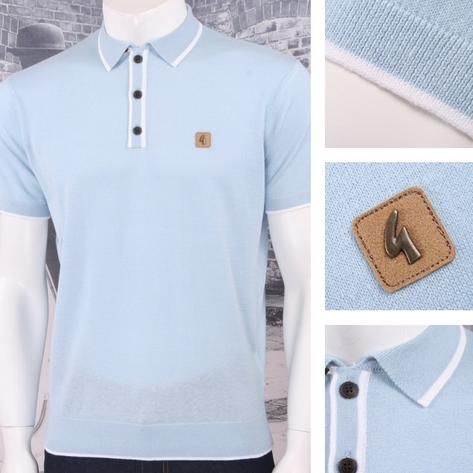 Gabicci Vintage Mod Retro 60's Tipped Placket & Collar S/S Knit Polo Shirt Thumbnail 3