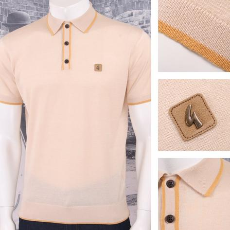 Gabicci Vintage Mod Retro 60's Tipped Placket & Collar S/S Knit Polo Shirt Thumbnail 4