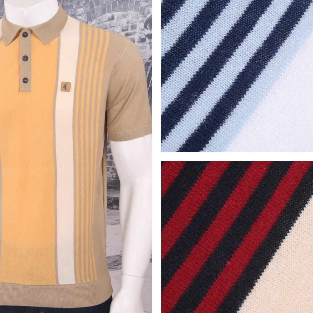 Gabicci Vintage Mod Retro 60's Fine Gauge Mixed Stripe S/S Knit Polo Top