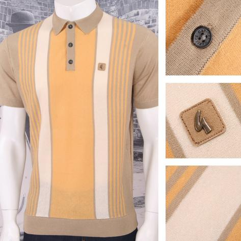 Gabicci Vintage Mod Retro 60's Fine Gauge Mixed Stripe S/S Knit Polo Top Thumbnail 2