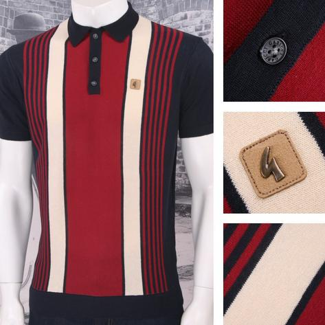Gabicci Vintage Mod Retro 60's Fine Gauge Mixed Stripe S/S Knit Polo Top Thumbnail 4
