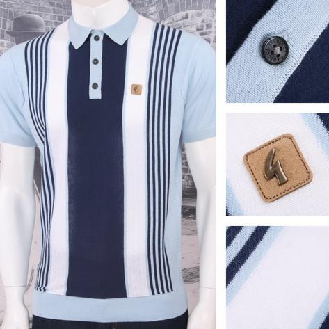 Gabicci Vintage Mod Retro 60's Fine Gauge Mixed Stripe S/S Knit Polo Top Thumbnail 3