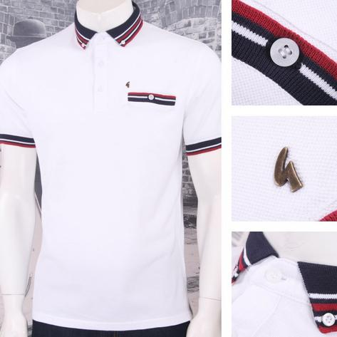 Gabicci Vintage Mod Retro 60's 100% Cotton S/S Multi Tipped Collar Polo Thumbnail 2