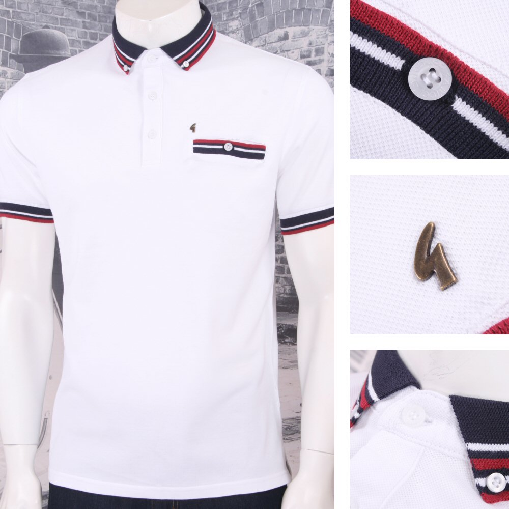 Gabicci-Vintage-Mod-Retro-anos-60-100-Algodon-S-S-Multi-Tipped-Collar-Polo