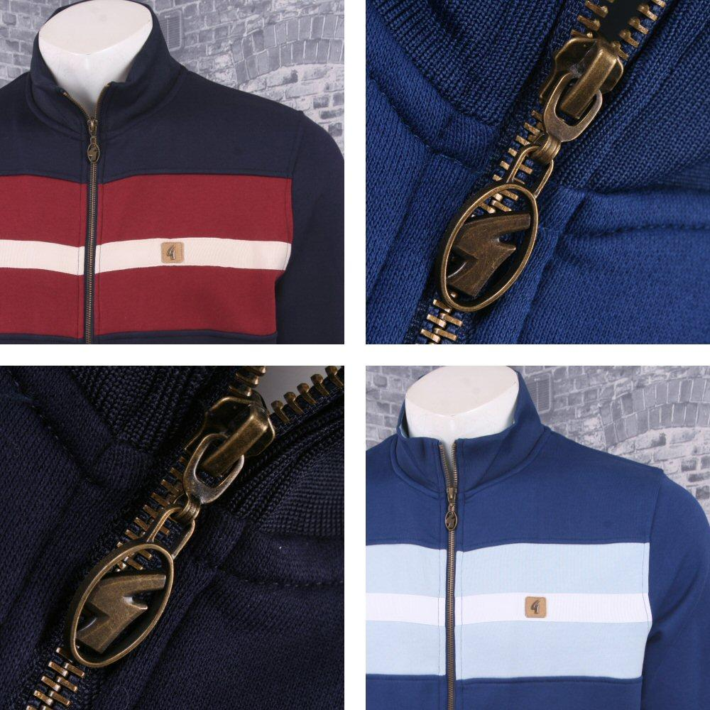 Gabicci Vintage Mod Retro 60's Stripe Panel Long Sleeve Zip Tracktop
