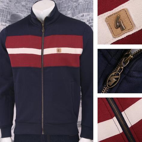 Gabicci Vintage Mod Retro 60's Stripe Panel Long Sleeve Zip Tracktop Thumbnail 2