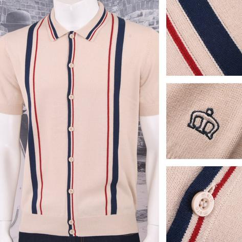Merc London Mod Retro Racing Stripe Button Up Knit Polo Cardigan Thumbnail 3