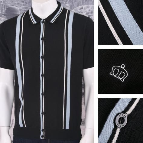 Merc London Mod Retro Racing Stripe Button Up Knit Polo Cardigan Thumbnail 2