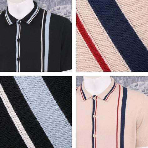 Merc London Mod Retro Racing Stripe Button Up Knit Polo Cardigan