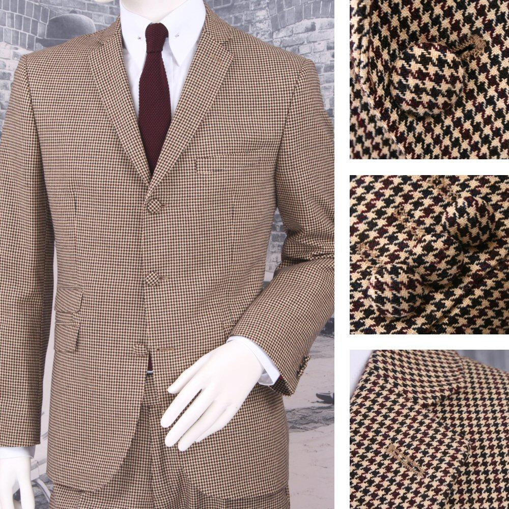 Adaptor Clothing Mod 60's Retro Dogtooth 3 Button Slim STANDARD Suit Cream