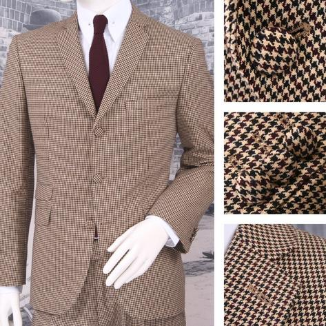 Adaptor Clothing Mod 60's Retro Dogtooth 3 Button Slim STANDARD Suit Cream Thumbnail 1