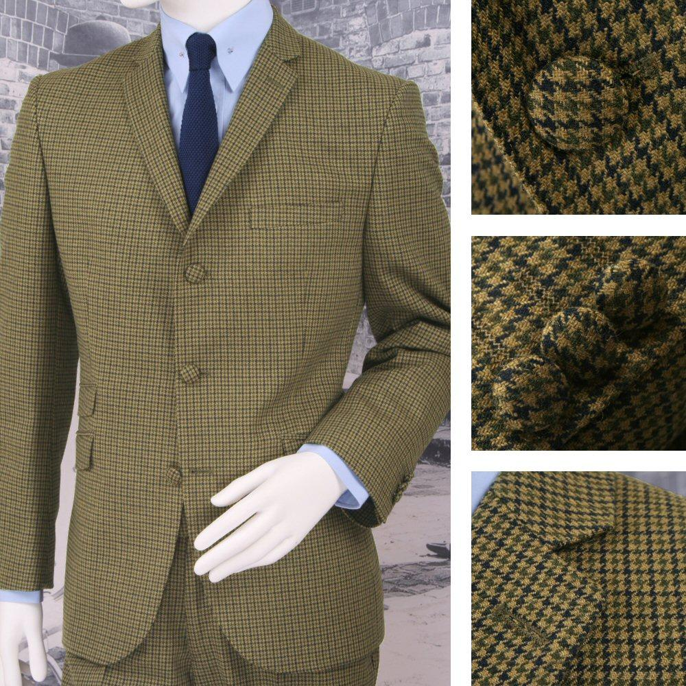 Adaptor Clothing Mod 60's Retro Dogtooth 3 Button Slim STANDARD Suit Green