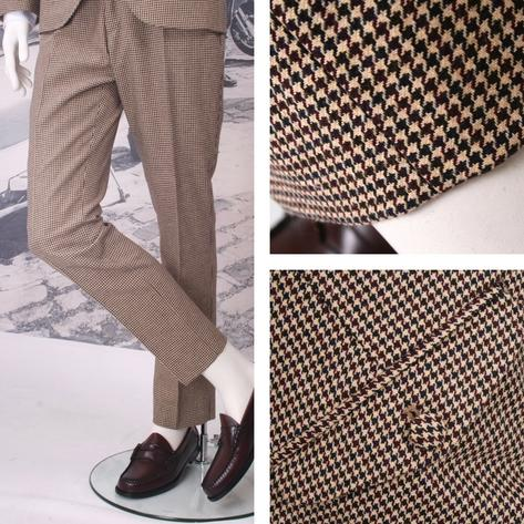 Adaptor Clothing Mod 60's Retro Dogtooth Frogmouth Pocket STANDARD Trousers Crea Thumbnail 1
