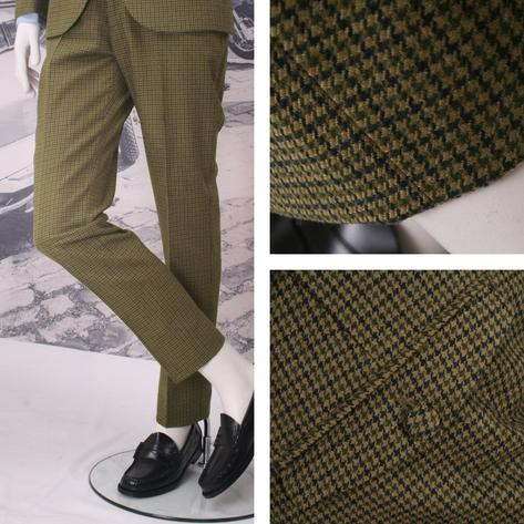 Adaptor Clothing Mod 60's Retro Dogtooth Frogmouth Pocket STANDARD Trousers Gree