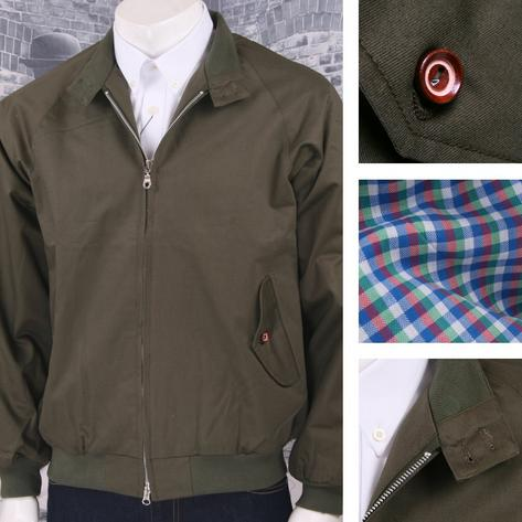 Hoxton London Mod 60's Skin Retro Raglan Sleeve Check Lined Harrington Jacket Thumbnail 3