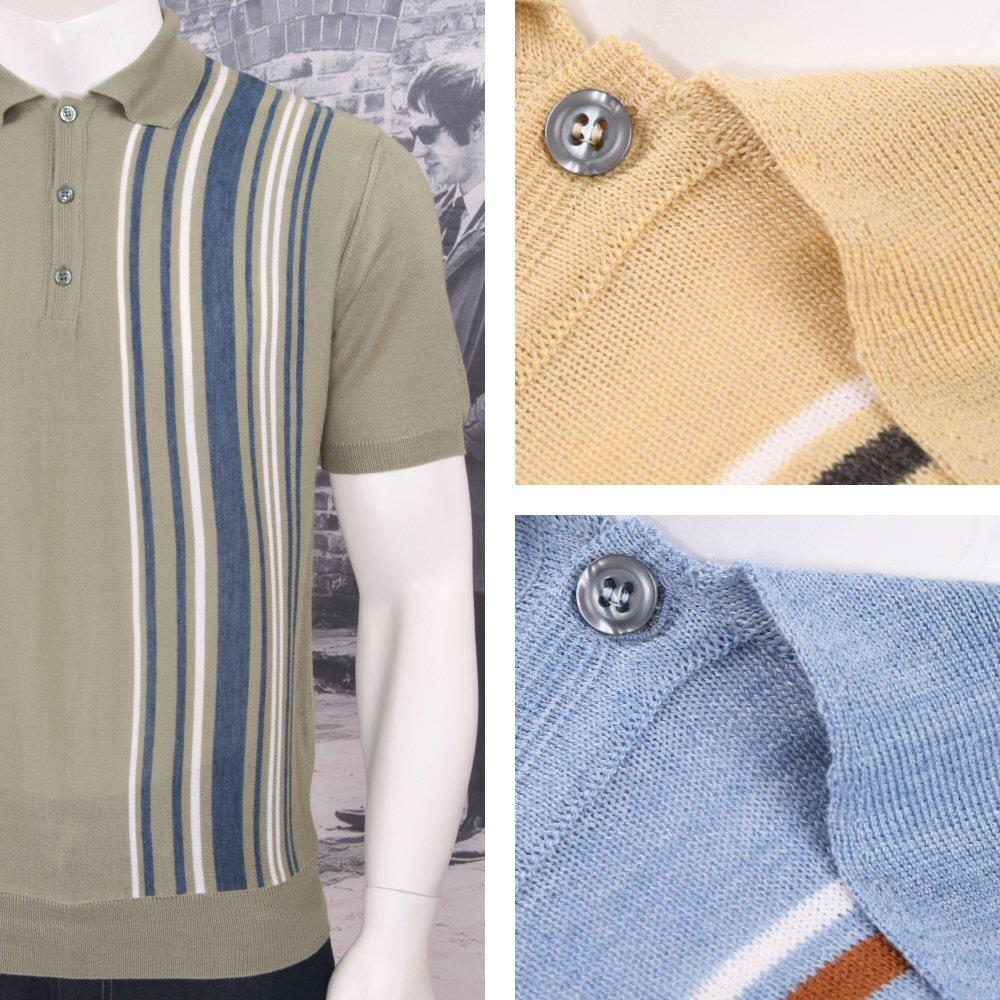 Authentic Aertex (Exclusive to Adaptor) Made in Italy Multi Stripe Knit Polo Shi