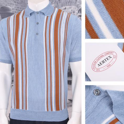 Authentic Aertex (Exclusive to Adaptor) Made in Italy Multi Stripe Knit Polo Shi Thumbnail 4