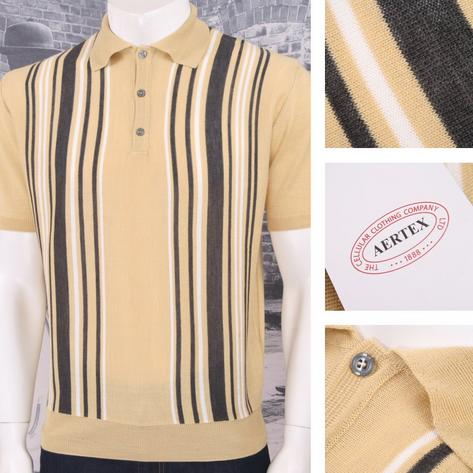 Authentic Aertex (Exclusive to Adaptor) Made in Italy Multi Stripe Knit Polo Shi Thumbnail 3
